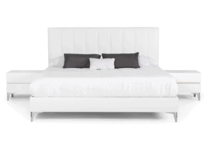Kayna Italian Eco Leather White Platform Bed with Nightstands