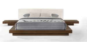 Modrest Floating Bed with Upholstered Headboard