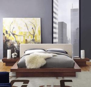 Modway Freja Fabric Upholstered Platform Queen Size Bed and Two Nightstands in Walnut Gray