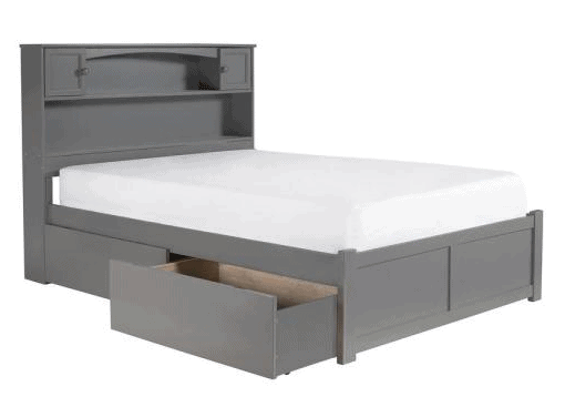 Newport Grey Full Platform Bed with Storage