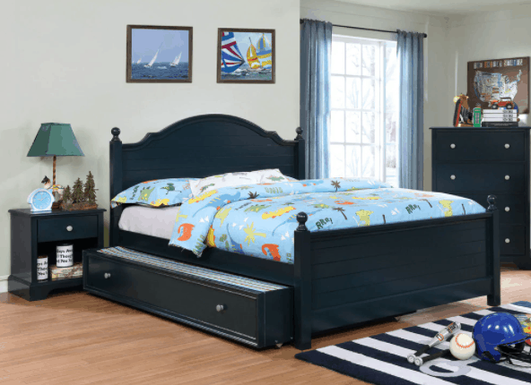 Taylor & Olive Cholla Wood Bed and Trundle Set - Blue